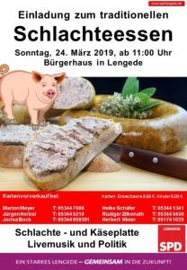 Plakat für das Schlachteessen 2019