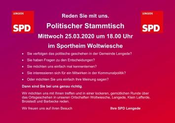 Plakat für den politischen Stammtisch am 25.03.2020